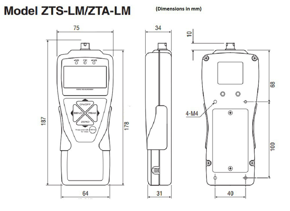 Dimensions-2Digital Force Gauges ZT-LM